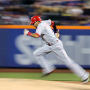 NEW YORK, NEW YORK - APRIL 27:  Billy Hamilton #6 of the Cincinnati Reds running to second base on a hit during the New York Mets Vs Cincinnati Reds MLB regular season game at Citi Field on April 27, 2016 in New York City. (Photo by Tim Clayton/Corbis via Getty Images)