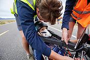 De Velox tijdens de derde racedag in Battle Mountain. Het Human Power Team Delft en Amsterdam, dat bestaat uit studenten van de TU Delft en de VU Amsterdam, is in Amerika om tijdens de World Human Powered Speed Challenge in Nevada een poging te doen het wereldrecord snelfietsen voor vrouwen te verbreken met de VeloX 8, een gestroomlijnde ligfiets. Het record is met 121,81 km/h sinds 2010 in handen van de Francaise Barbara Buatois. De Canadees Todd Reichert is de snelste man met 144,17 km/h sinds 2016.<br /> <br /> With the VeloX 8, a special recumbent bike, the Human Power Team Delft and Amsterdam, consisting of students of the TU Delft and the VU Amsterdam, wants to set a new woman's world record cycling in September at the World Human Powered Speed Challenge in Nevada. The current speed record is 121,81 km/h, set in 2010 by Barbara Buatois. The fastest man is Todd Reichert with 144,17 km/h.