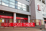 """An """"always together"""" sign outside of the Riverside stadium ahead of the EFL Sky Bet Championship match between Middlesbrough and Bournemouth at the Riverside Stadium, Middlesbrough, England on 19 September 2020."""