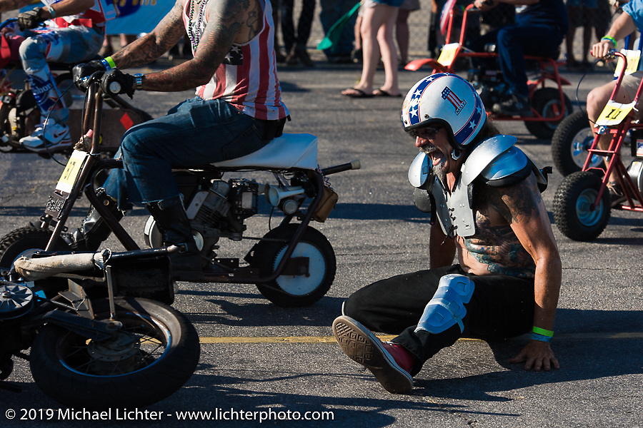 Mini-bike races Saturday afternoon at the Smokeout. Rockingham, NC. USA. June 20, 2015.  Photography ©2015 Michael Lichter.
