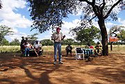 David Coltart, Legal Affairs spokesman for the MDC addresses a rally in the outskirts of Bulawayo, Zimbabwe.