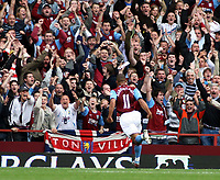 Photo: Mark Stephenson.<br /> Aston Villa v Everton. The FA Barclays Premiership. 23/09/2007.Villa's Gabriel Agbonlahor celebrates his goal with the fans