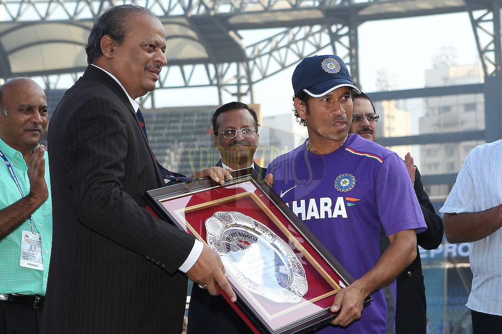 Sachin Tendulkar of India is honoured by the MCC during day 1 of the 2nd Airtel Test match between India and England held at the Wankhede Stadium in Mumbai, India on the 23rd November 2012...Photo by Ron Gaunt/ BCCI/ SPORTZPICS..Use of this image is subject to the terms and conditions as outlined by the BCCI. These terms can be found by following this link:..http://www.sportzpics.co.za/image/I0000SoRagM2cIEc
