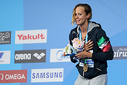 July 26, 2017 - Budapest, Hungary - Federica Pellegrini (ITA) on podium after wins the Gold Medal on Women's 200 m Freestyle Final during the 17th FINA World Championships, at Duna Arena, in Budapest, Hungary, Day 13, on July 26th, 2017. (Credit Image: © Foto Olimpik/NurPhoto via ZUMA Press)