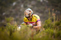 Hector Leonardo Paez Leon of Kansai Plascon pushes up a hill during stage 1 of the 2017 Absa Cape Epic Mountain Bike stage race held from Hermanus High School in Hermanus, South Africa on the 20th March 2017<br /> <br /> Photo by Nick Muzik/Cape Epic/SPORTZPICS<br /> <br /> PLEASE ENSURE THE APPROPRIATE CREDIT IS GIVEN TO THE PHOTOGRAPHER AND SPORTZPICS ALONG WITH THE ABSA CAPE EPIC<br /> <br /> ace2016