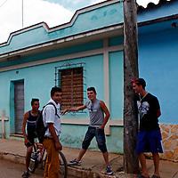 Central America, Cuba, Remedios. Cuban boys in street in Remedios.