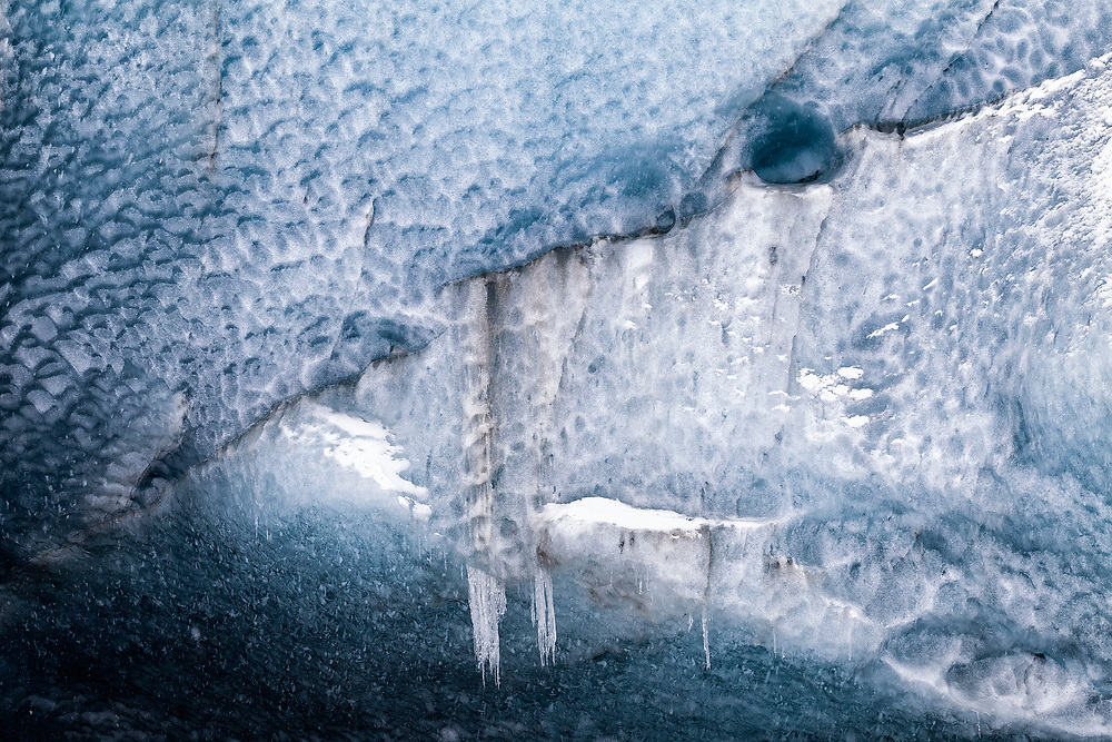 Icecave ice detail with snow