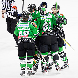 26.01.2014, Hala Tivoli, Ljubljana, SLO, EBEL, HDD Telemach Olimpija Ljubljana vs Dornbirner Eishockey Club, 4. Plazierungsrunde, in picture palyers of HDD Telemach Olimpija celebrate during the Erste Bank Icehockey League 4th Placing round between HDD Telemach Olimpija Ljubljana and Dornbirner Eishockey Club at the Hala Tivoli, Ljubljana, Slovenia on 2014/01/26. Photo by Urban Urbanc/ Sportida