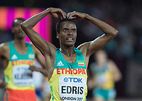 Athletics - 2017 IAAF London World Athletics Championships - Day Nine, Evening Session<br /> <br /> Mens 5000m Final<br /> <br /> Muktar Edris (Ethiopia) pays tribute to Mo Farah by mimicking his celebration after he wins the gold medal for his country at the London Stadium<br /> <br /> COLORSPORT/DANIEL BEARHAM