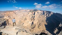 View of canyon at  Wadi Nakhr, at Jebel Shams in Western Hajar mountains of Oman