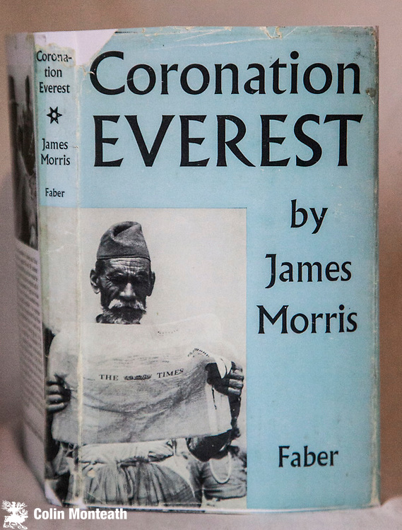 CORONATION EVEREST,  James Morris, Faber & Faber, London, 1st edn., 1958, 144page hardback in original blue boards, facsimile jacket, B&W plates, previous owner's name whited out fep., otherwise VG - James Morris was The Times correspondent for the 1953 British Everest Expedition - a refreshing non-climbers view of the famous expedition ( though James did go up into the Western Cwm) - James later re-invented herself as Jan Morris and went on to become the famous travel writer. She is the only surviving member of the 1953 trip - a surprisingly hard book to find. $75
