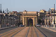 The old Pont de Pierre Bridge. Porte Bourgogne or des Salinieres. Bordeaux city, Aquitaine, Gironde, France