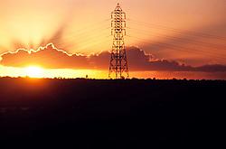 Rede de alta tensao na cidade de Penedo, Alagoas. Brasil./Electricicty pylons at Penedo city, Alagoas, Brazil