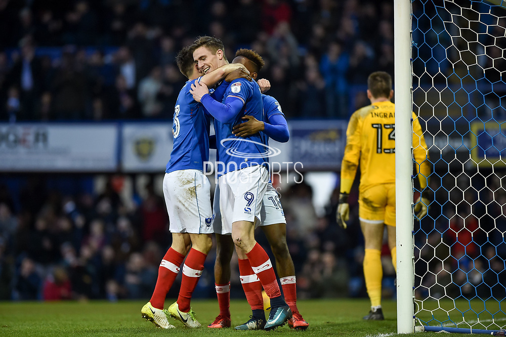 Portsmouth Players Celebrate after Portsmouth Forward, Oliver Hawkins (9) scores a goal to make it 3-1 during the EFL Sky Bet League 1 match between Portsmouth and Northampton Town at Fratton Park, Portsmouth, England on 30 December 2017. Photo by Adam Rivers.