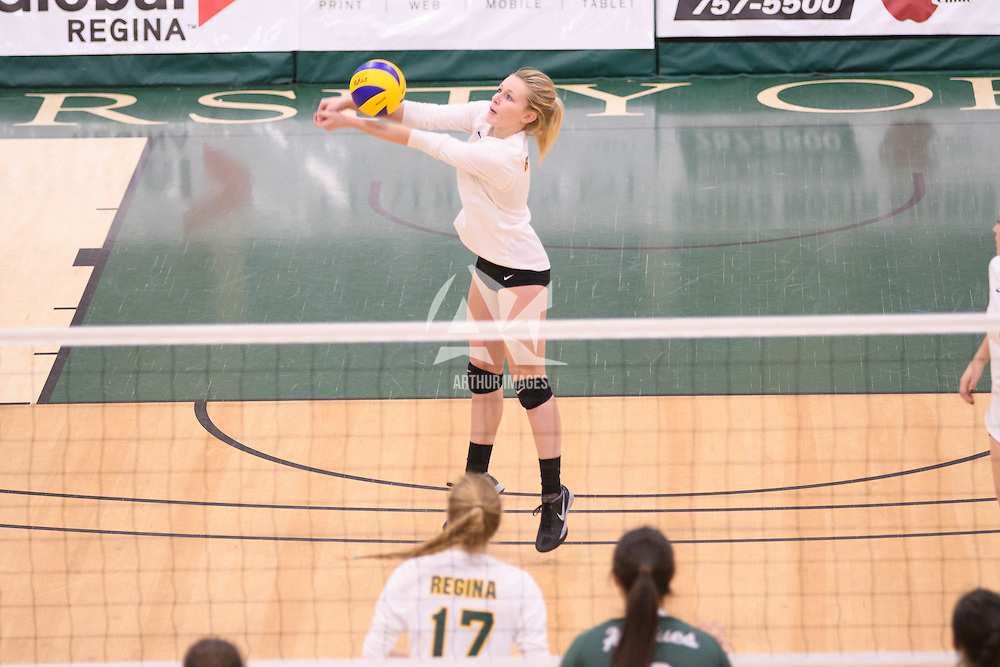 3rd year outside hitter Leah Sywanyk (3) of the Regina Cougars in action during Women's Volleyball home game on November 18 at Centre for Kinesiology, Health and Sport. Credit: /Arthur Images