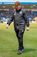 Scunthorpe United manager Stuart McCall walks off the pitch after full time during the EFL Sky Bet League 1 match between Gillingham and Scunthorpe United at the MEMS Priestfield Stadium, Gillingham, England on 16 February 2019.