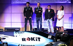 Unveiling of the new livery FW42 with drivers George Russell (left) and Robert Kubica, with chairman of Rok Jonathan Kendrick, and Williams Formula One deputy team principal Claire Williams (second right) during the Williams 2019 livery launch at Williams Conference Centre, Grove.