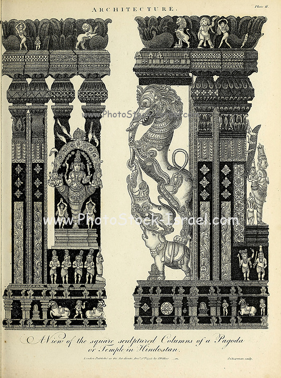 The square sculptured columns of a Pagoda or Temple in Hindostan [Hindustan, India] From the Encyclopaedia Londinensis or, Universal dictionary of arts, sciences, and literature; Volume II;  Edited by Wilkes, John. Published in London in 1810