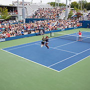 2019 US Open Tennis Tournament- Day Five.  Coco Gauff and Catherine McNally of the United States celebrate victory in Bryan brothers style after their victory against Julia Goerges of German and Katerina Siniakova of the Czech Republic in the Women's Doubles Round One match on a packed Court Five at the 2019 US Open Tennis Tournament at the USTA Billie Jean King National Tennis Center on August 30th, 2019 in Flushing, Queens, New York City.  (Photo by Tim Clayton/Corbis via Getty Images)