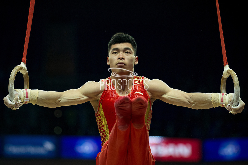 Jianlin Luo of China (CHN) on the Rings during the iPro Sport World Cup of Gymnastics 2017 at the O2 Arena, London, United Kingdom on 8 April 2017. Photo by Martin Cole.