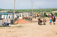 Horses with carts picking up building supplies in Gibara, Holguin, Cuba.
