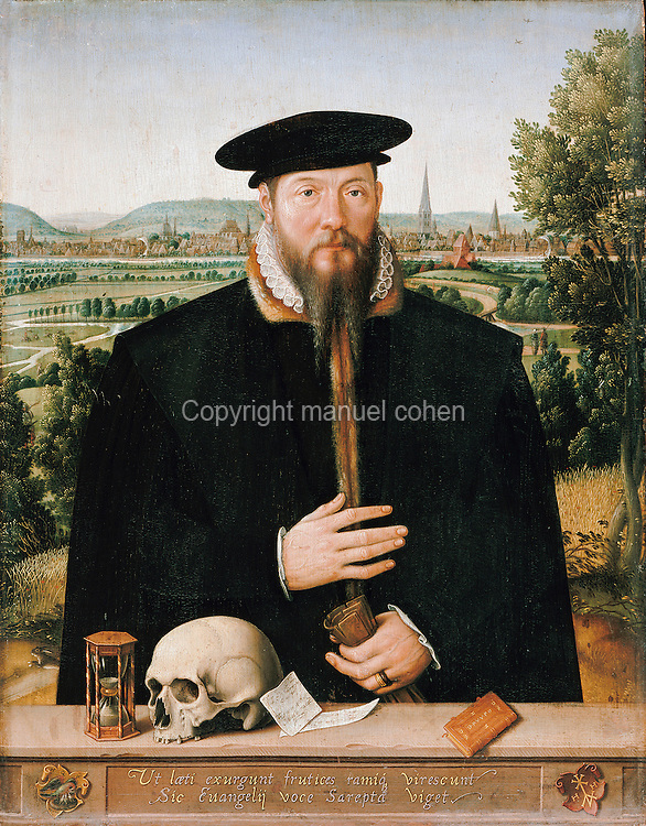 Portrait of the pastor Hermann Huddaeus, with a view of the town of Minden, painting, 1568, oil on canvas, by Ludger Tom Ring the Younger, 1496-1547, in the Gemaldegalerie, Berlin, Germany. Huddaeus is depicted with an hourglass, a skull, two pieces of paper and a book on a parapet. Picture by Manuel Cohen