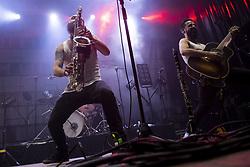 July 1, 2018 - Burgos, Spain - Music group La Maravillosa Orquesta Del Alcohol (La Moda) during concert in Burgos, Spain on July 01, 2018. (Credit Image: © Coolmedia/NurPhoto via ZUMA Press)