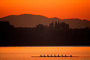 Silhouette of men's eights rowing team in action.