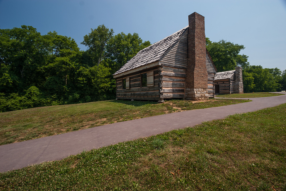 A slave cottage of Andrew Jackson's Hermitage in Tennessee, USA. Slaves lived in family units in small 20 foot square cabins with one floor, one door, one window, a fireplace, and a small loft.