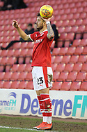 Barnsley defender Daniel Pinillos (23)  takes a throw in during the EFL Sky Bet League 1 match between Barnsley and Charlton Athletic at Oakwell, Barnsley, England on 29 December 2018.