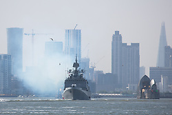 May 10, 2017 - London, London, UK - The Indian Navy's stealth frigate INS Tarkash pictured sailing down the Thames today after a port visit to London giving off plumes of smoke. INS Tarkash was built at a Russian shipyard and commissioned in 2012. Credit : Rob Powell/LNP (Credit Image: © Rob Powell/London News Pictures via ZUMA Wire)