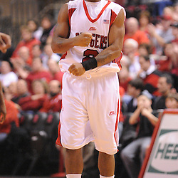 Feb 8, 2009; Piscataway, NJ, USA; Rutgers guard Anthony Farmer (2) cheers after Rutgers forces a turnover on defense during the second half of Seton Hall's 65-60 victory at the Louis Brown Athletic Center.
