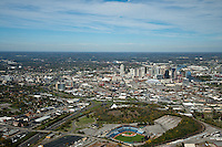 Aerial photo of the Nashville Skyline with Greer Stadium in the foreground.