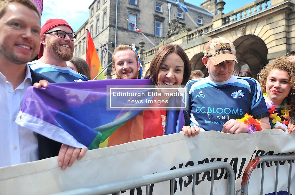 Scottish Labour leader Kezia Dugdale prepares to lead off  marchers before the annual Pride Scotia march in Edinburgh.<br /> <br /> © Dave Johnston/ EEm