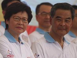 June 28, 2017 - Hong Kong, CHINA - HKSAR Chief Executive Officer to-be, Carrie Lam ( L ) and current HKSAR CEO, Leung Chun Ying at the Chinese Aeronautics Show. June 28, 2017.Hong Kong.ZUMA/Liau Chung Ren (Credit Image: © Liau Chung Ren via ZUMA Wire)