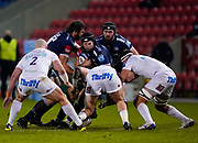 Sale Sharks lock Josh Beaumont takes a hit during a Gallagher Premiership Round 11 Rugby Union match, Friday, Feb 26, 2021, in Eccles, United Kingdom. (Steve Flynn/Image of Sport)