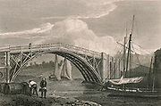 'Stourport bridge, Worcestershire. Stourport became a thriving inland port due to its position at the junction of the rivers Stour and Severn and the entrance of the Staffordshire and Worcester Canal. Engraving c1806.'
