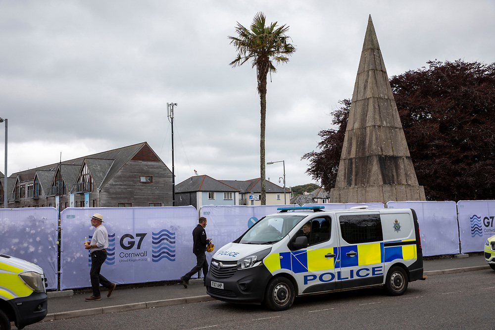 Police officers patrolling the streets around the G7 media centre on the 11th of June 2021 in Falmouth in Cornwall, United Kingdom. Over 5000 police officers from forces across the UK are in Cornwall this weekend for the G7 world leaders summit.(photo by Andrew Aitchison/In Pictures via Getty Images)