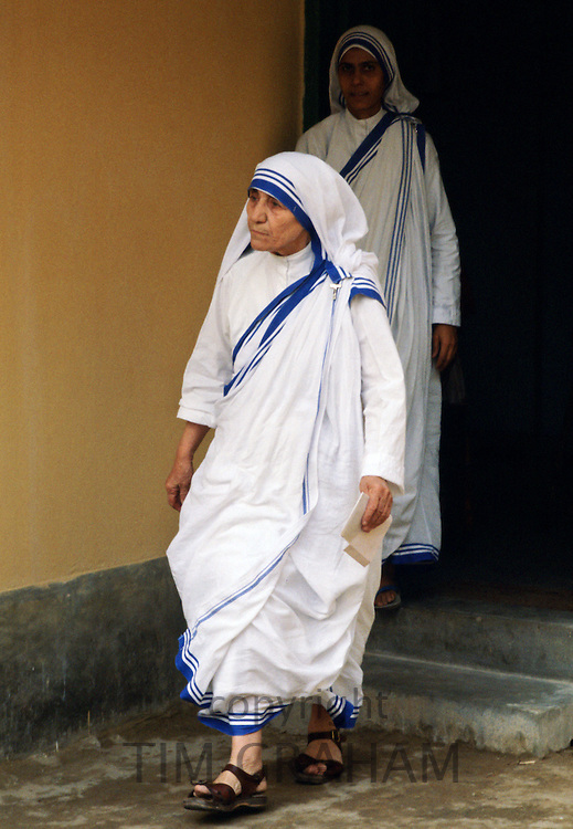 Mother Teresa at her mission for underprivileged people in Calcutta, India.