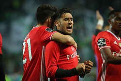 April 22, 2017 - Lisbon, Lisbon, Portugal - Benficas forward Toto Salvio from Argentina celebrating at the of the match during Premier League 2016/17 match between Sporting CP and SL Benfica, at Alvalade Stadium in Lisbon on April 22, 2017. (Credit Image: © Dpi/NurPhoto via ZUMA Press)