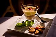 Chocolate gelato topped with warm zabaglione prepared table-side at Antonello Ristorante in Santa Ana, CA