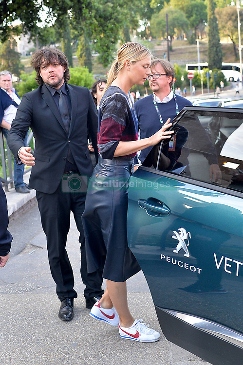 Tennis star Maria Sharapova is seen attending an exhibition with tennis pal Tomas Berdych inside the Coliseum before the Italian Open 2017. 14 May 2017 Pictured: Maria Sharapova. Photo credit: AM1999 / MEGA TheMegaAgency.com +1 888 505 6342