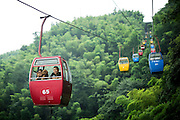 """A Chinese family of tourists take the panoramic cableway wit their dog in the Bamboo Sea in Yibin, August 06, 2014.<br /> <br /> Shunan Bamboo Sea (Chinese: 蜀南竹海;pinyin: shǔnánzhúhǎi) covers an area of over 120 kilometers in Sichuan Province.<br /> This forest has won its fame for its unique green and graceful trees: bamboos are here, there and everywhere.<br /> It is one of the shooting places of the Oscar award- winning movie """"Crouching Tiger, Hidden Dragon"""" directed by Ang Lee.<br /> <br /> © Giorgio Perottino"""