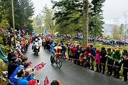 September 20, 2017 - Bergen, NORWAY - 170920 Tom Dumoulin of the Netherlands competes during the Men Elite Individual Time Trial on September 20, 2017 in Bergen..Photo: Vegard Wivestad GrÂ¿tt / BILDBYRN / kod VG / 170018 (Credit Image: © Vegard Wivestad Gr¯Tt/Bildbyran via ZUMA Wire)