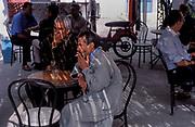 TUNISIA; Djerba. Houmt Souq market town.Cafe scene