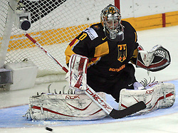 Goalie Robert Muller at ice-hockey match Germany vs Norway (they have old replika jerseys from year 1966) at Preliminary Round (group C) of IIHF WC 2008 in Halifax, on May 07, 2008 in Metro Center, Halifax,Nova Scotia, Canada. (Photo by Vid Ponikvar / Sportal Images)