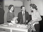 plastic Baths Launching Reception at Shelbourne Hotel 12-12-1958. Plastic, Perspex, sink, with drainer, and 2 fine ladies drying dishes,
