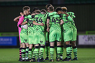 Forest Green Rovers academy pre match huddle during the FA Youth Cup match between Forest Green Rovers and Helston Athletic at the New Lawn, Forest Green, United Kingdom on 29 October 2019.