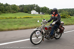 Jeff Lauritsen riding his 1914 Excelsior in the Motorcycle Cannonball coast to coast vintage run. Stage-2 (251-miles) from Keene, NH to Binghampton, NY. Sunday September 9, 2018. Photography ©2018 Michael Lichter.