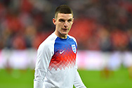 Declan Rice of England warming up before the UEFA European 2020 Qualifier match between England and Czech Republic at Wembley Stadium, London, England on 22 March 2019.